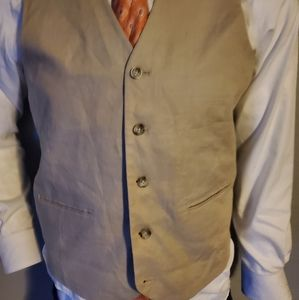 Pronto Uomo Tan Linen Vest Small Excellent Cond